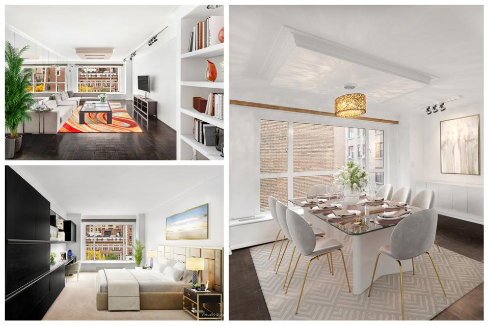 A collage of an apartment showing a living room, bedroom and dining room.