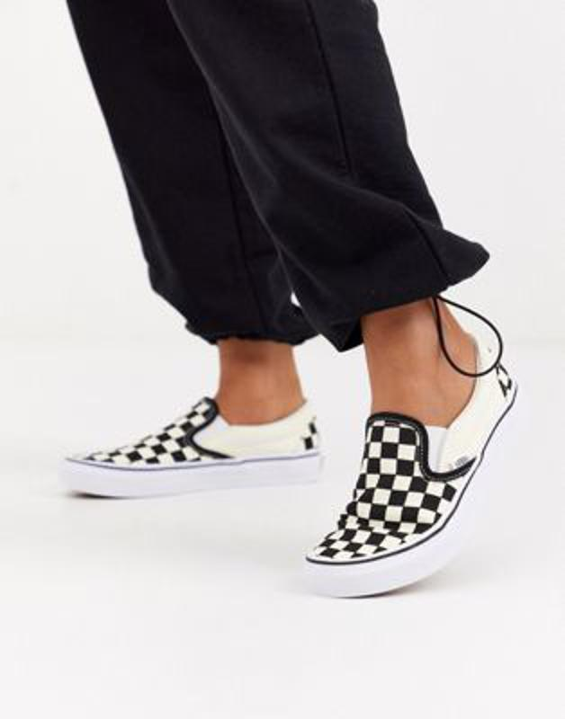 Vans checkerboard black and white sneakers.