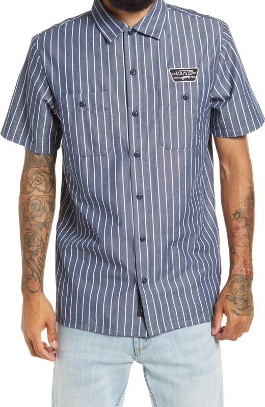 Vans Coleman Stripe Short Sleeve Button-Up Shirt.