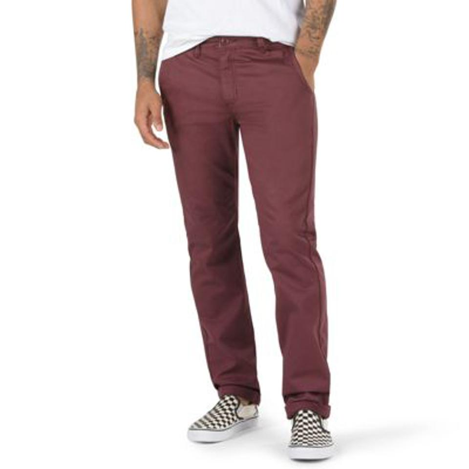 Authentic Chino Stretch Pant in maroon.