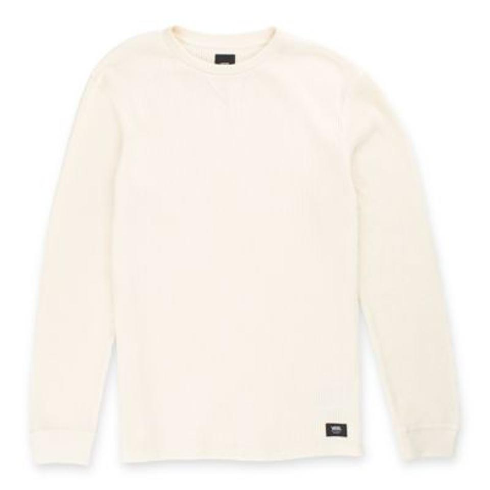 Waffle Thermal Long Sleeve Shirt in white.
