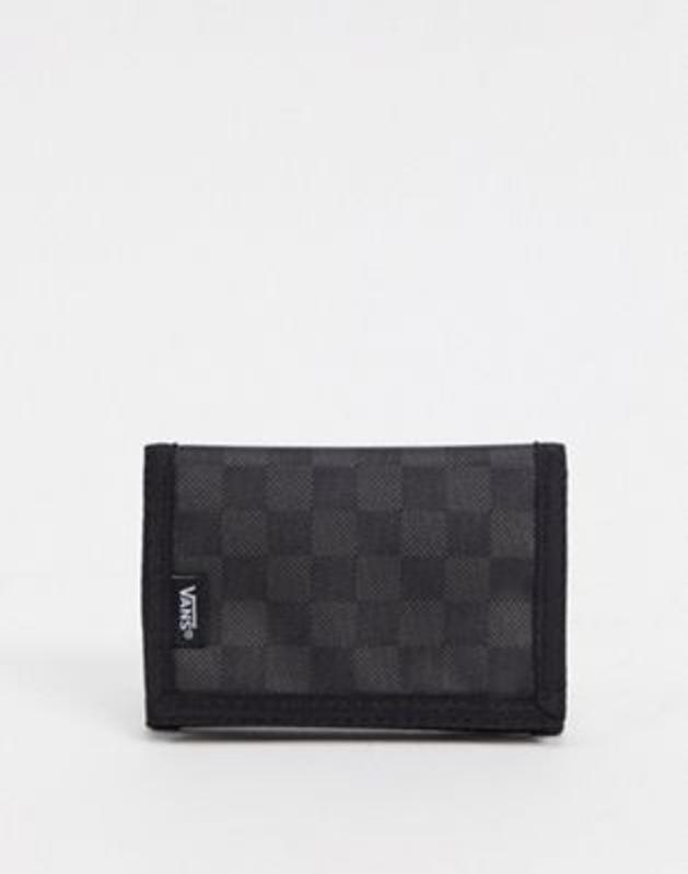 Vans wallet in black/gray checkerboard.