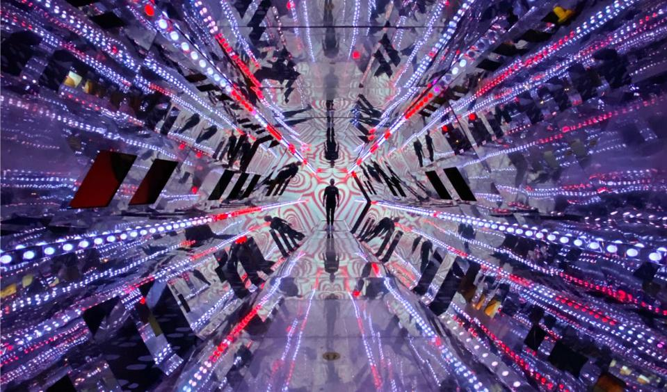 A human in a virtual hall of mirrors