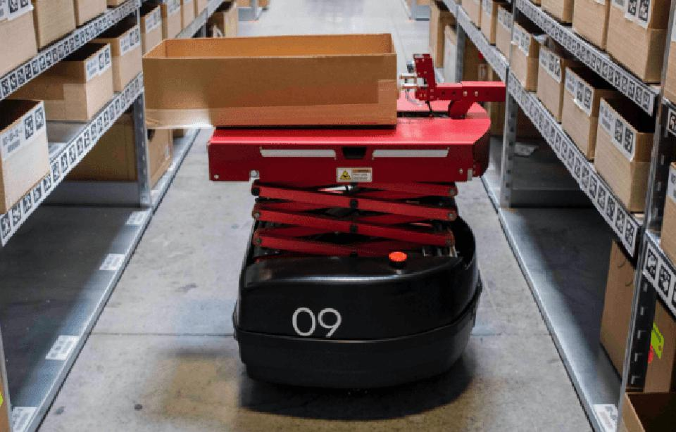 An InVia robot in a warehouse in a screen capture from an InVia video.