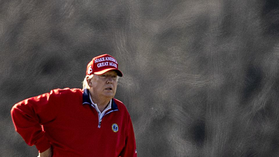 President Trump Golfs In Sterling, Virginia On Thanksgiving Day