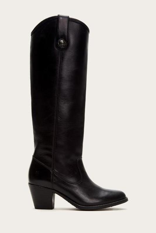 Black knee-high boot.