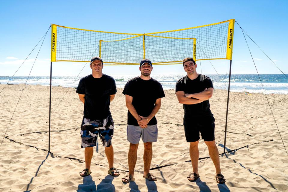 CROSSNET's founders invented a four-way volleyball game.