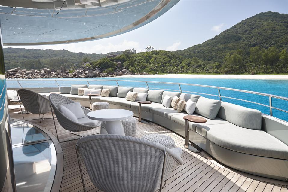 The sun deck on the Feadship Savannah superyacht