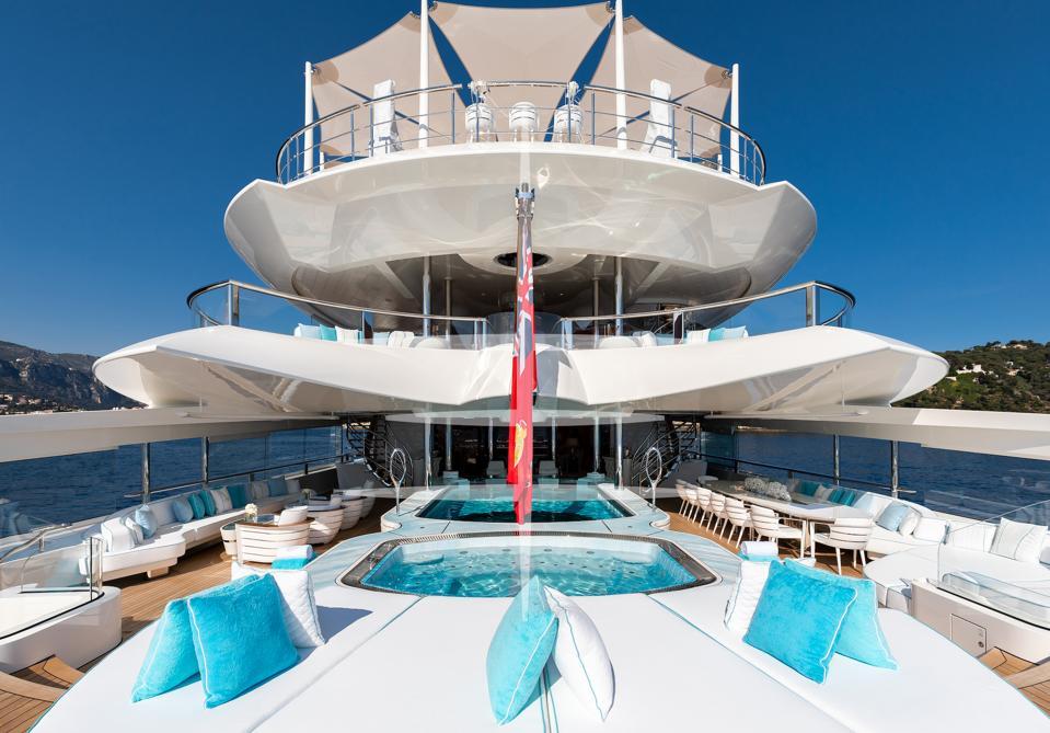 Lady S superyacht's glass-bottom swimming pool