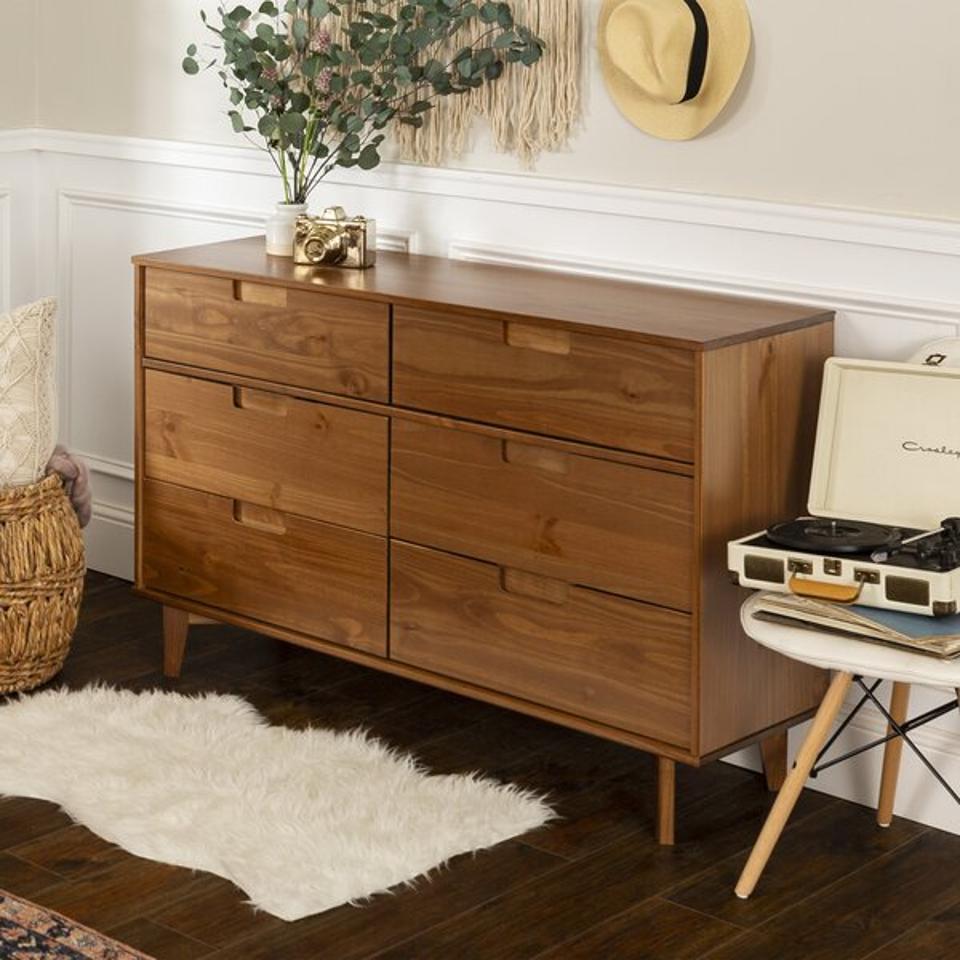 Dorinda Groove 6 Drawer Double Dresser