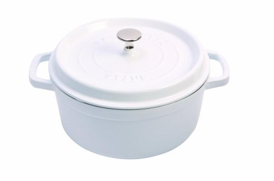 Staub Cast Iron Round Cocotte, 4-Quart, White