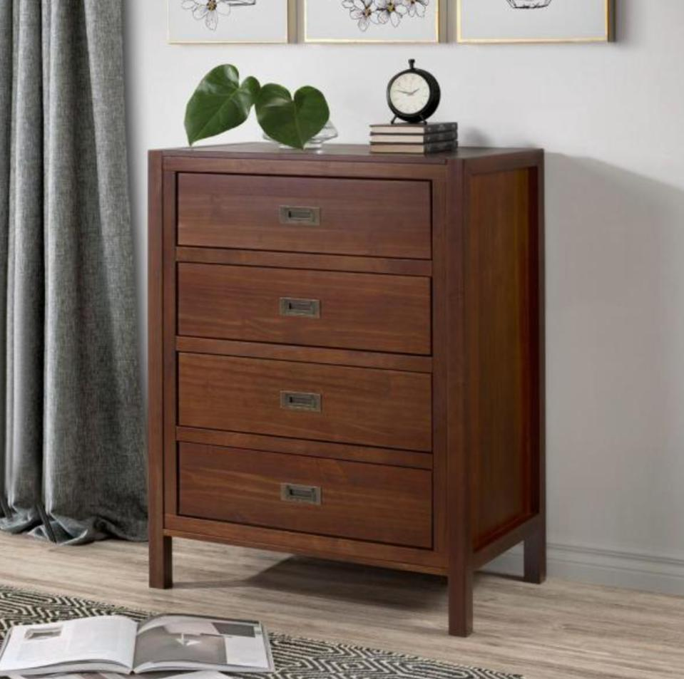 Welwick Designs Classic Solid Wood 4-Drawer Chest - Walnut