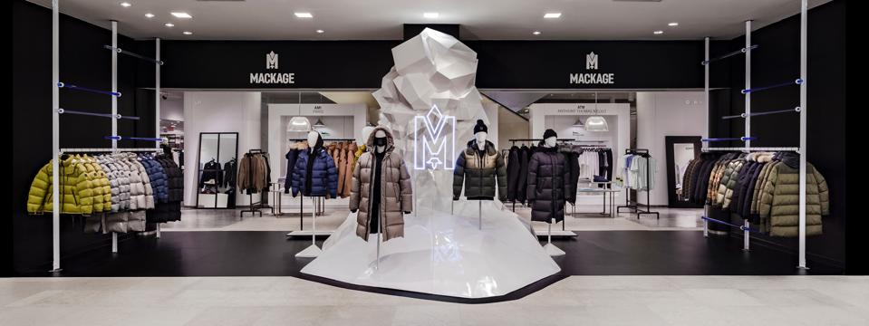 A white three-dimensional larger-than-life iceberg was part of a display at Saks Fifth Avenue's Atrium.