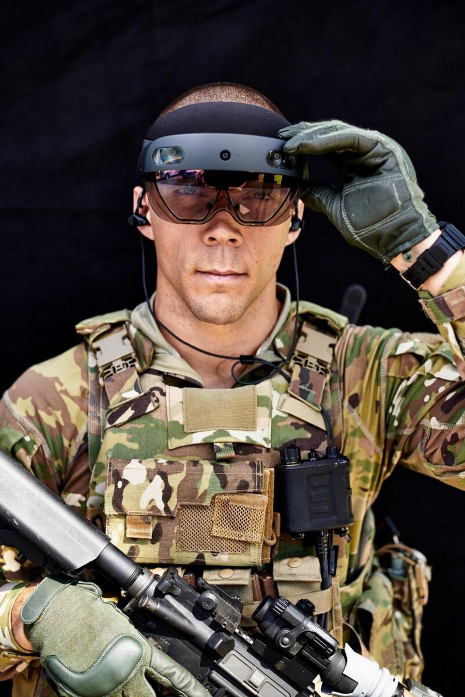 Soldier with futuristic goggles