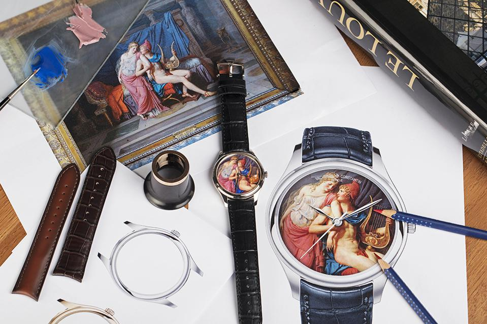 Example of a miniature enamel rendering of The Loves of Paris and Helen, by Jacques-Louis David, kept at the Louvre Museum. By Vacheron Constantin.