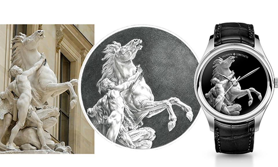 Example of a creation that can be done in grisaille enamel, inspired by Guillaume Coustou's sculpture of the Horse Restrained by a Groom, called Horse of Marly. By Vacheron Constantin.