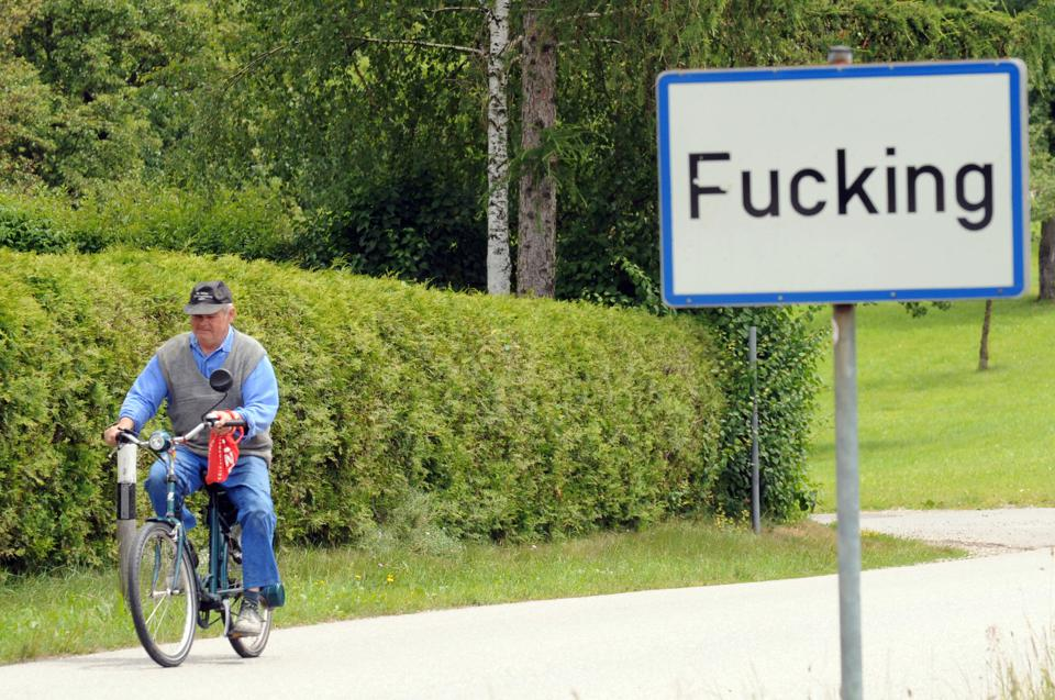 A man leaves the village of Fucking, some 35 km North of Salzburg, which changed its name this week after decades of derision.