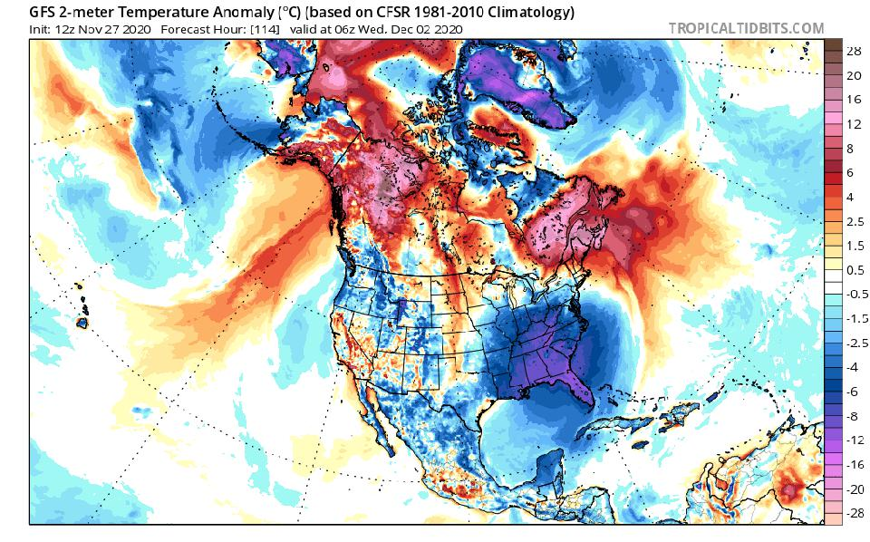A map of surface temperature anomalies on the morning of Wednesday, December 2, 2020.