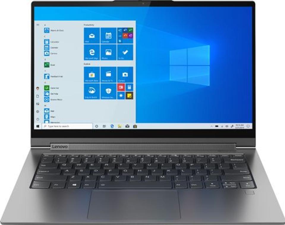 Lenovo Yoga C940 2-in-1 laptop opened and running Windows 10