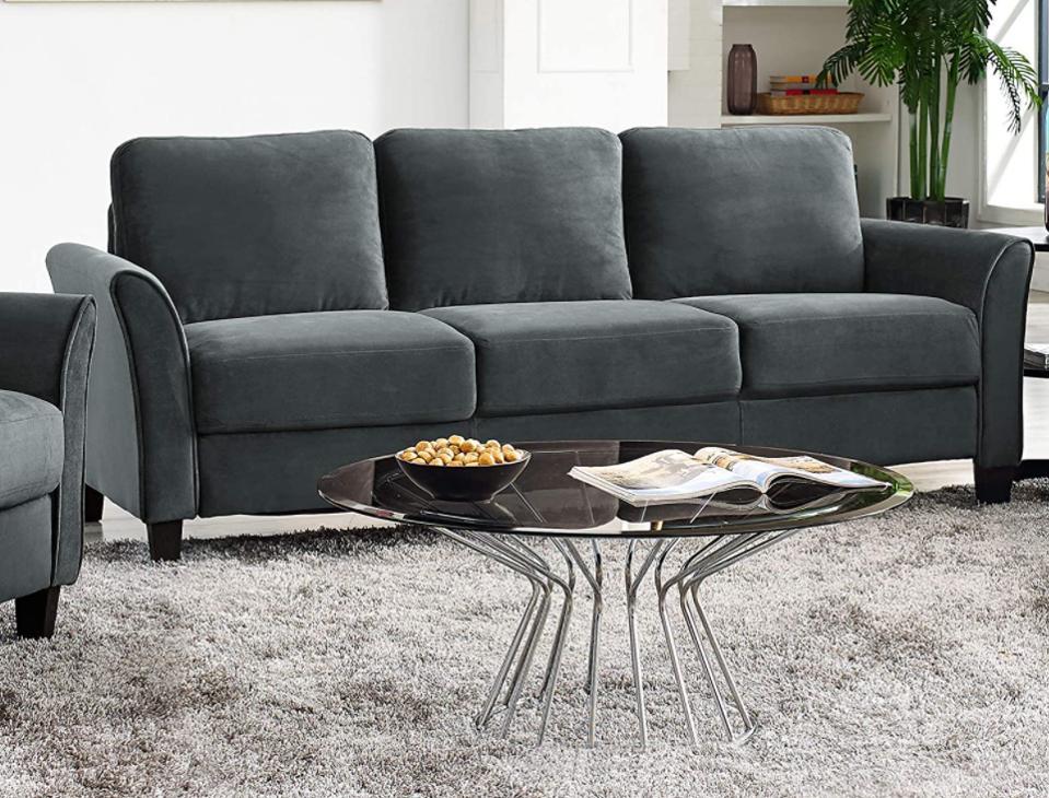 Lifestyle Solutions Wen Austin Curved-Arm Sofa Dark Grey