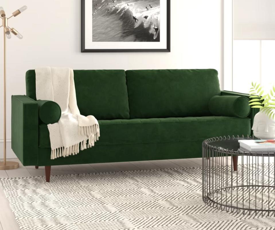 Ravi Velvet 84″ Square Arm Sofa