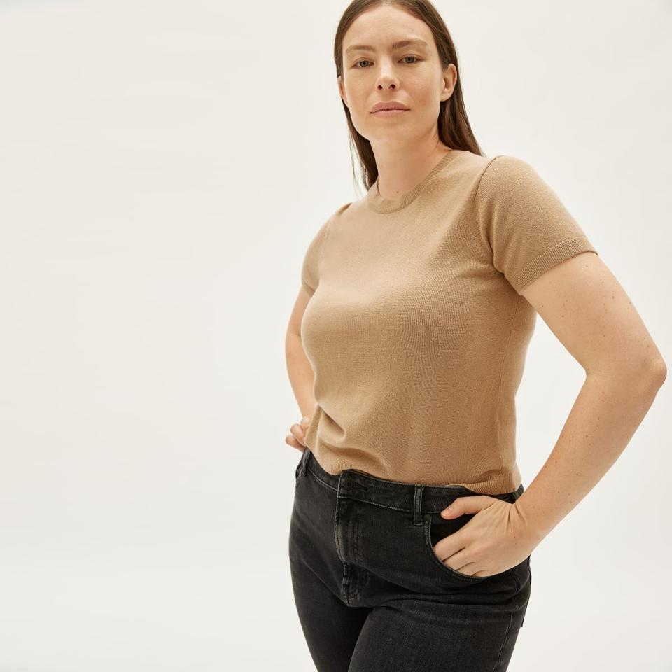 everlane camel colored cashmere short-sleeve shirt.