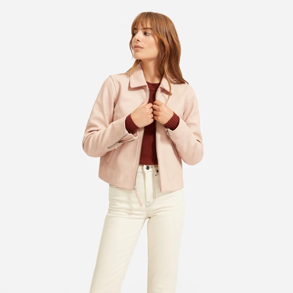 Everlane baby pink leather jacket.