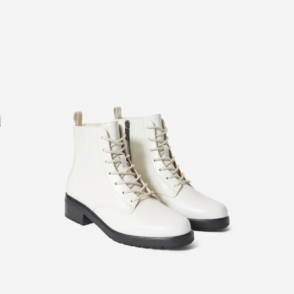 everlane white lace up boots.