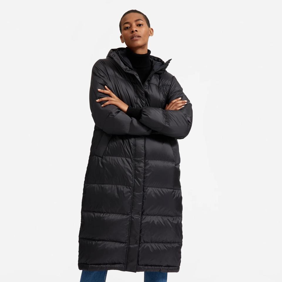 Everlane black long puffer jacket.