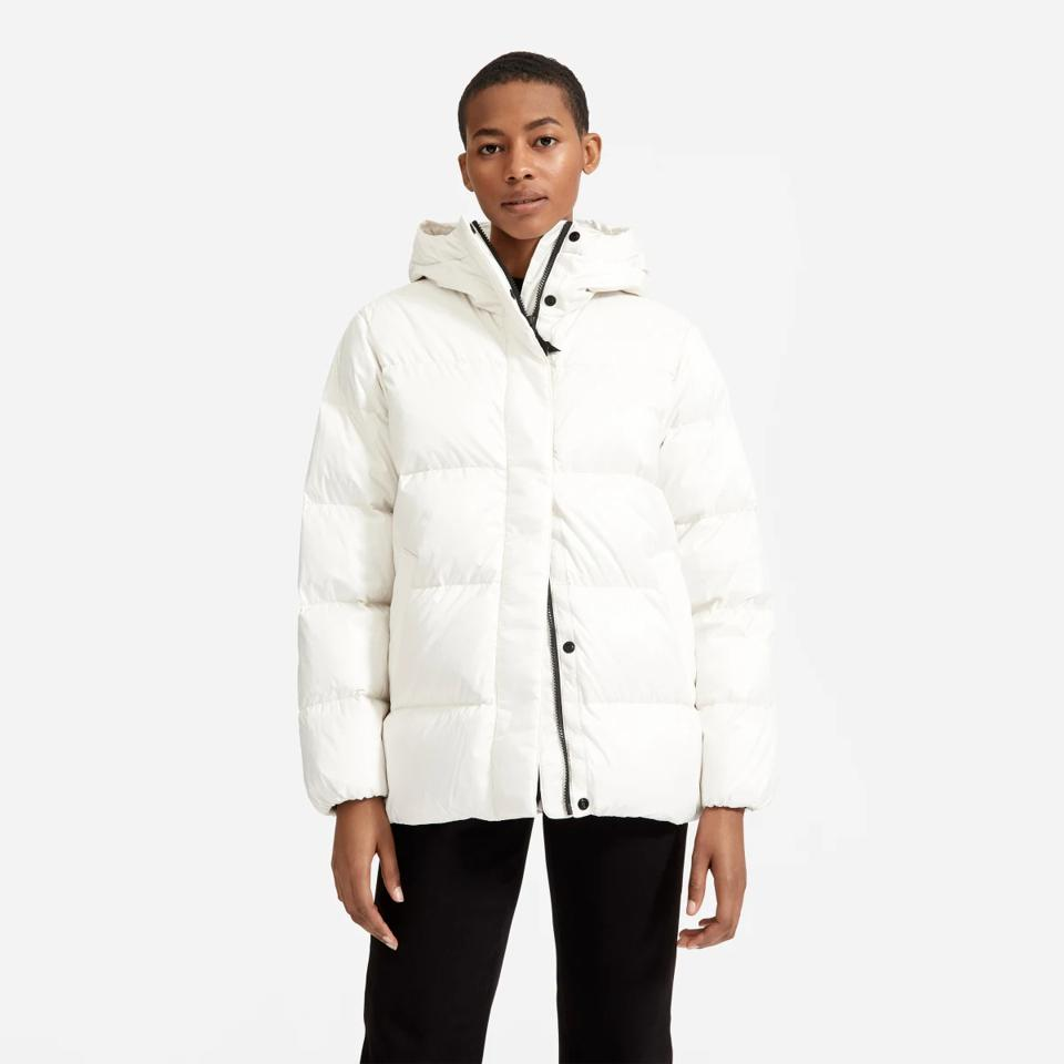 Everlane white puffer jacket.