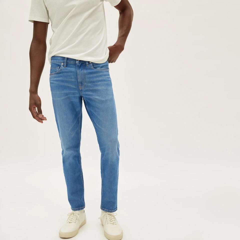 everlane light blue wash skinny jeans.