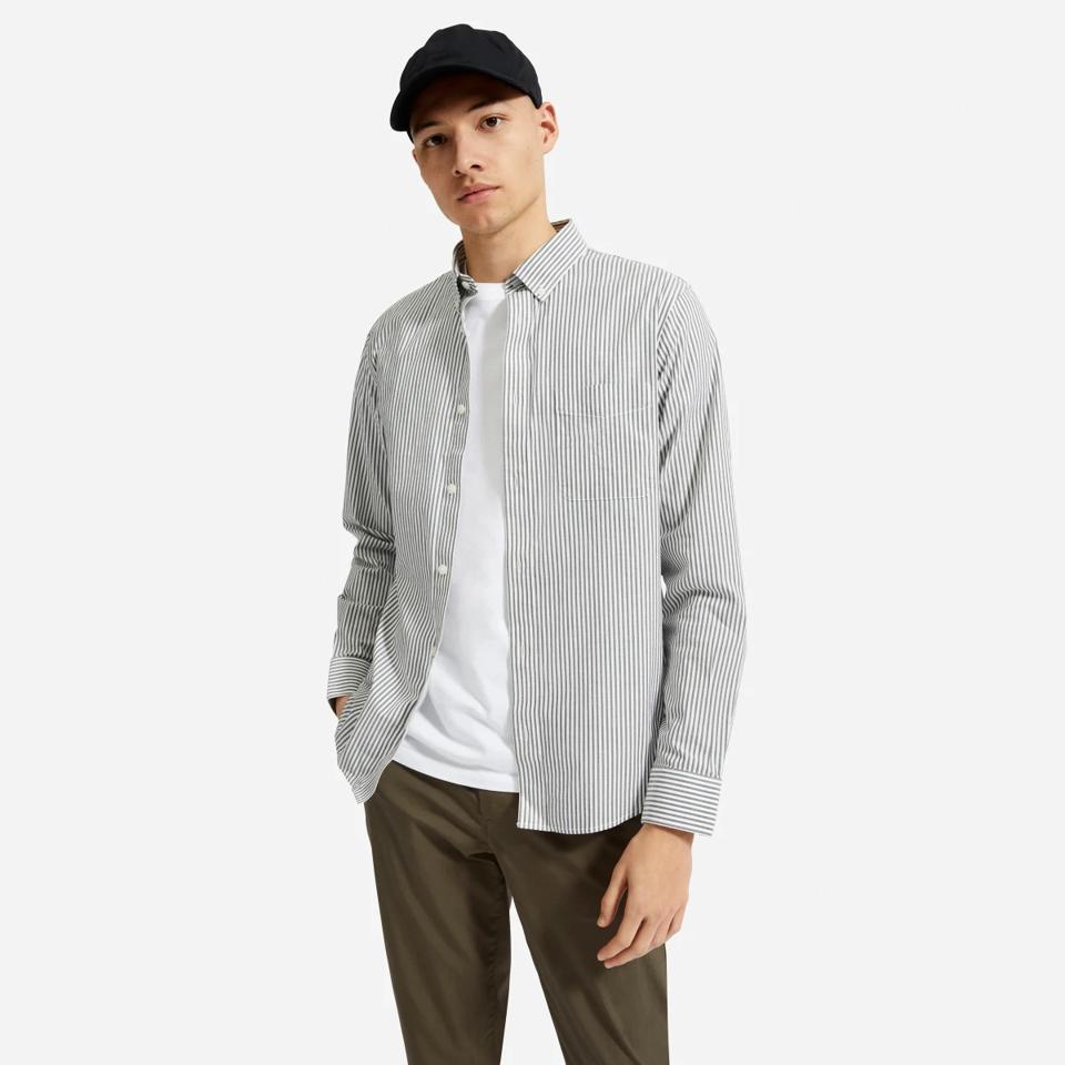 Everlane pin-striped long-sleeve oxford shirt.