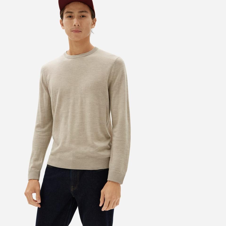 Tan everlane sweater.