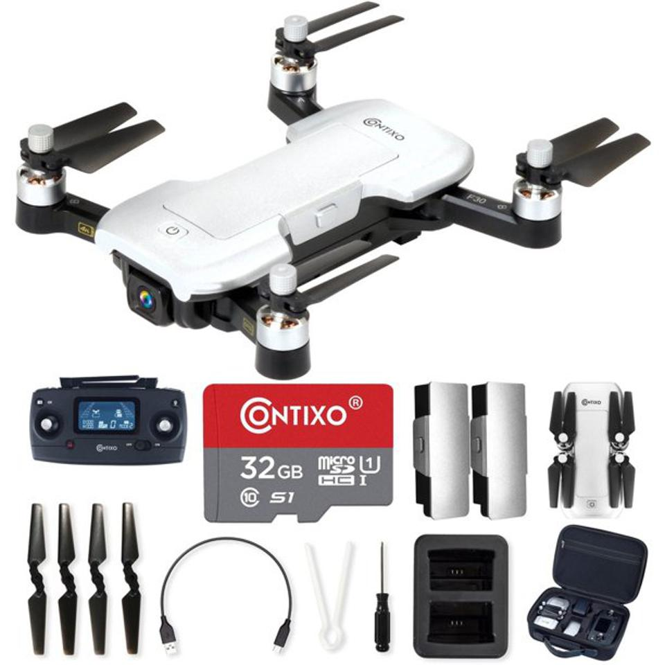 Contixo Drone with 4K UHD Camera & GPS, Kids & Adults, Wi-Fi, 32 GB micro SD, FPV Quadcopter, Foldable Mini Drone, Brushless Motor, Follow Me, Two Batteries, & Carrying Case F30