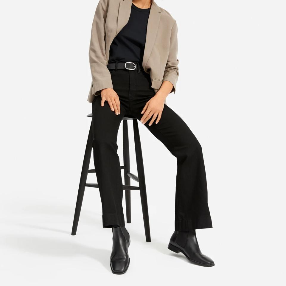 Black modern flare jeans from Everlane.