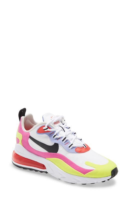 Nike Air Max 270 React SE Sneaker in white, red, pink, and yellow.