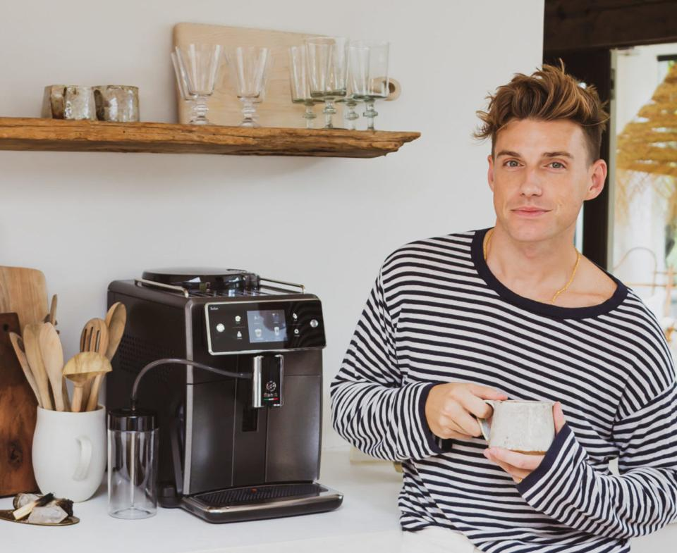 Netflix 'Say I Do' star Jeremiah Brent with the Saeco Xelsis machine.
