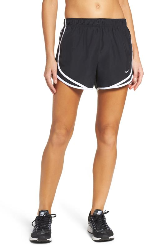 Black Nike running shorts.