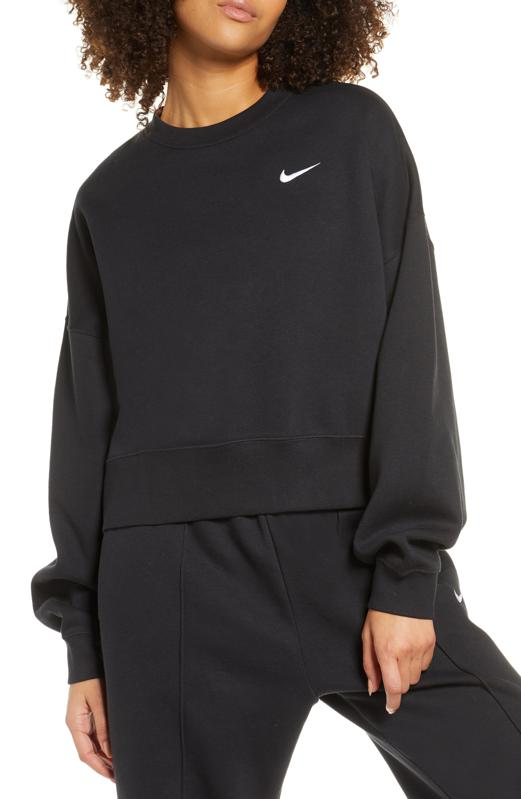 Black Nike logo crew neck.