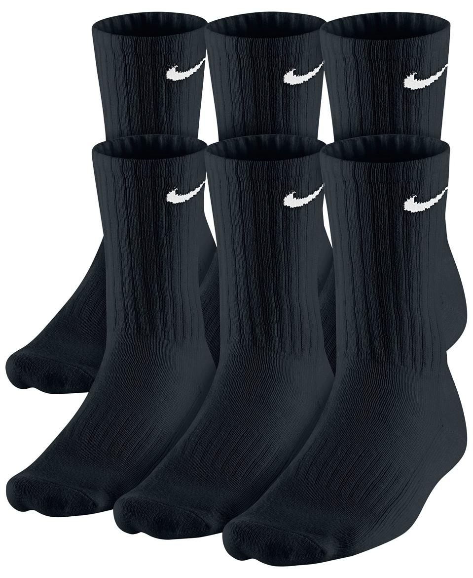 Black Nike logo crew socks.