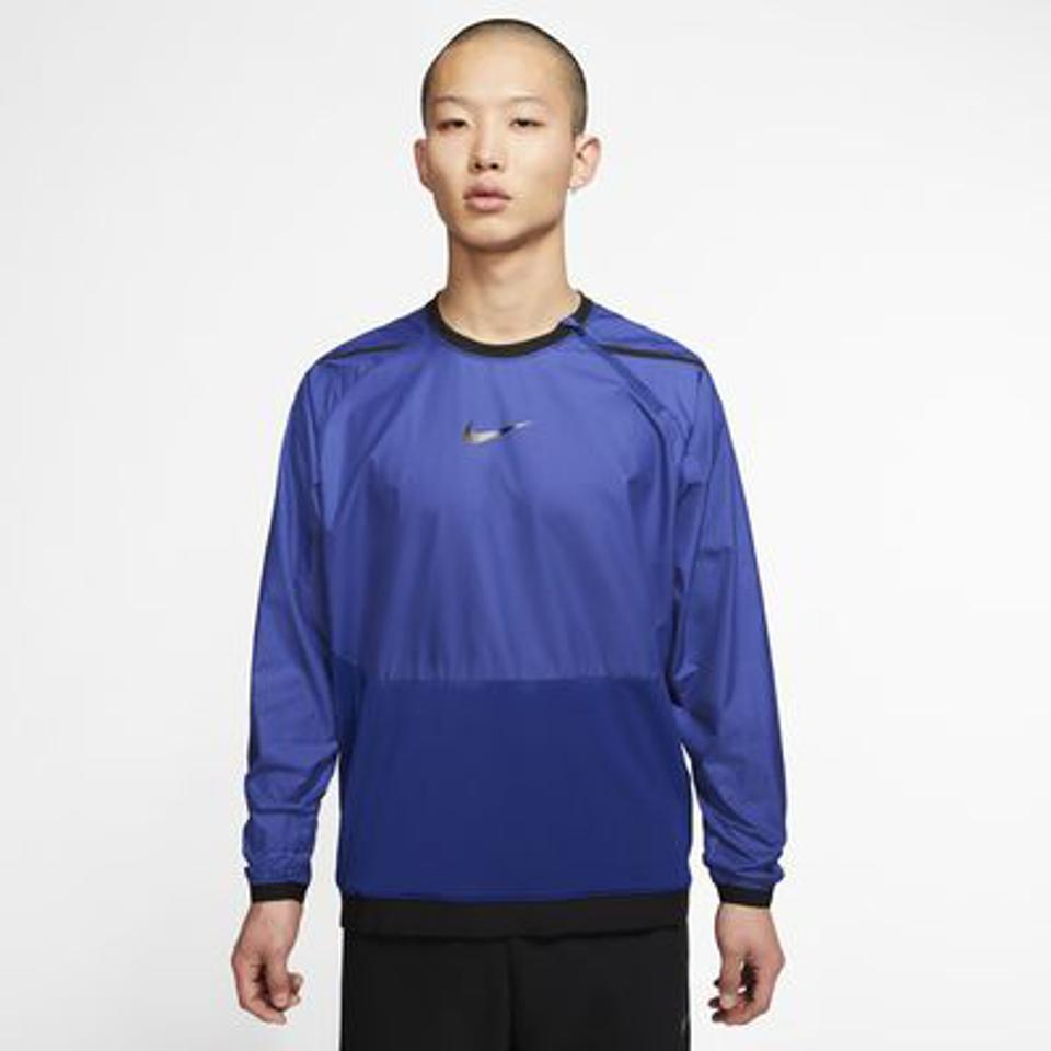 Blue Nike long-sleeve.