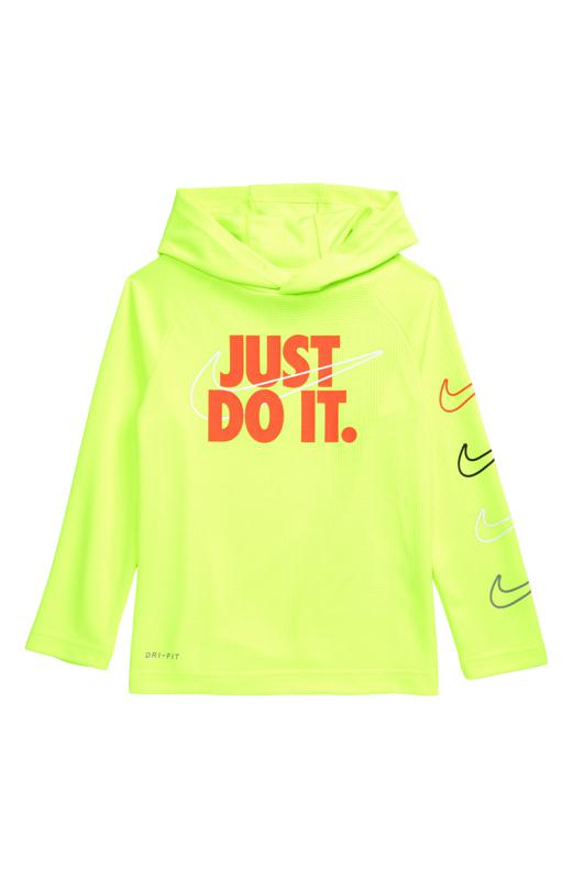 Neon yellow hoodie that reads ″Just do it.″