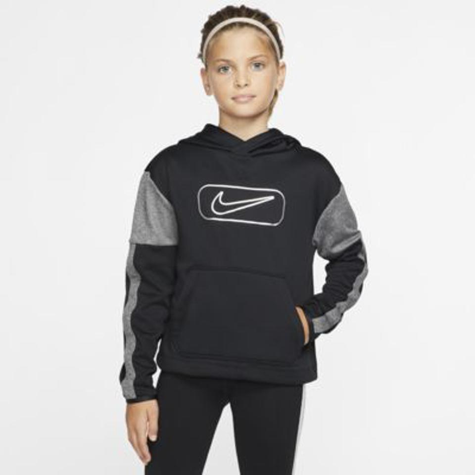Nike logo hoodie in gray and black.