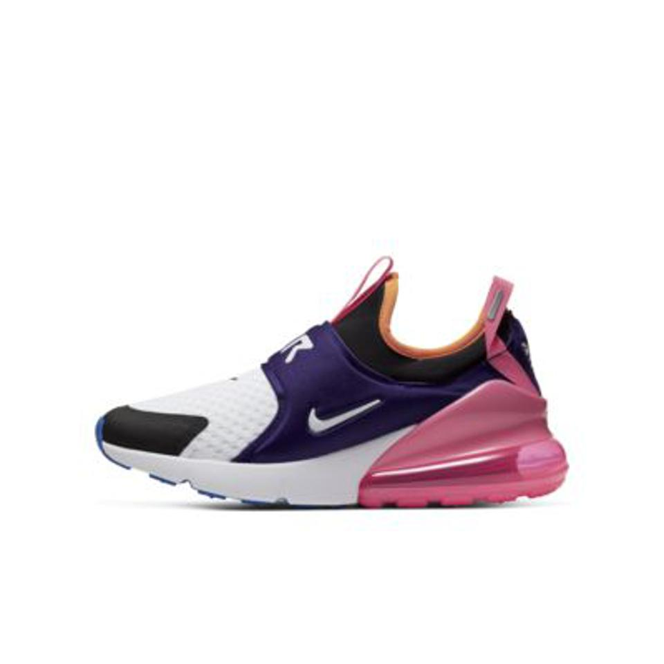 Nike Air Max 270 Extreme Big Kids' Shoe in pink, purple, and white.