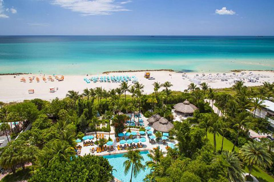 Miami hotel with palm trees and oceans