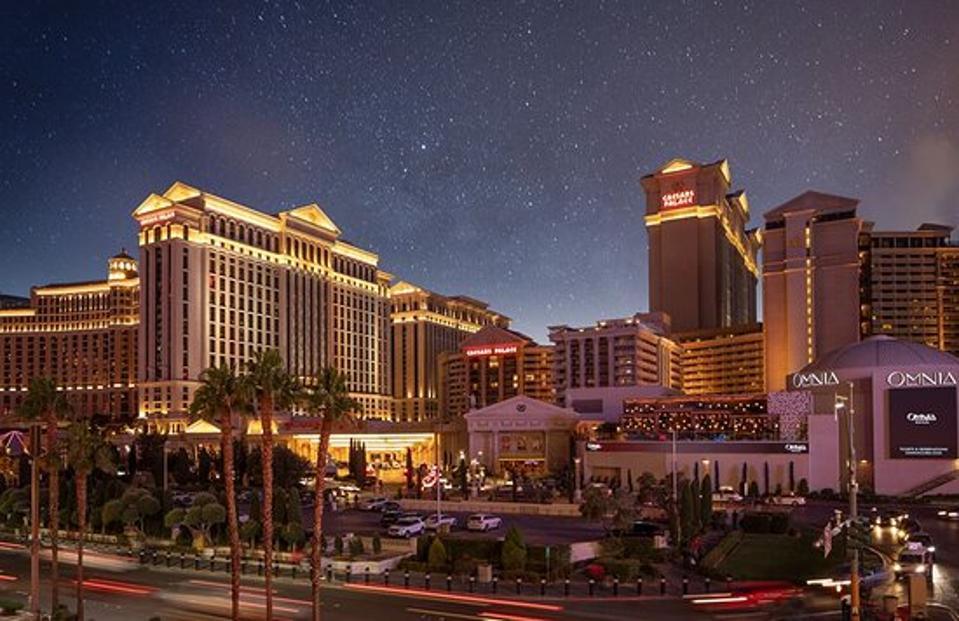 Night time view of the Las Vegas Strip and Caesar's Palace