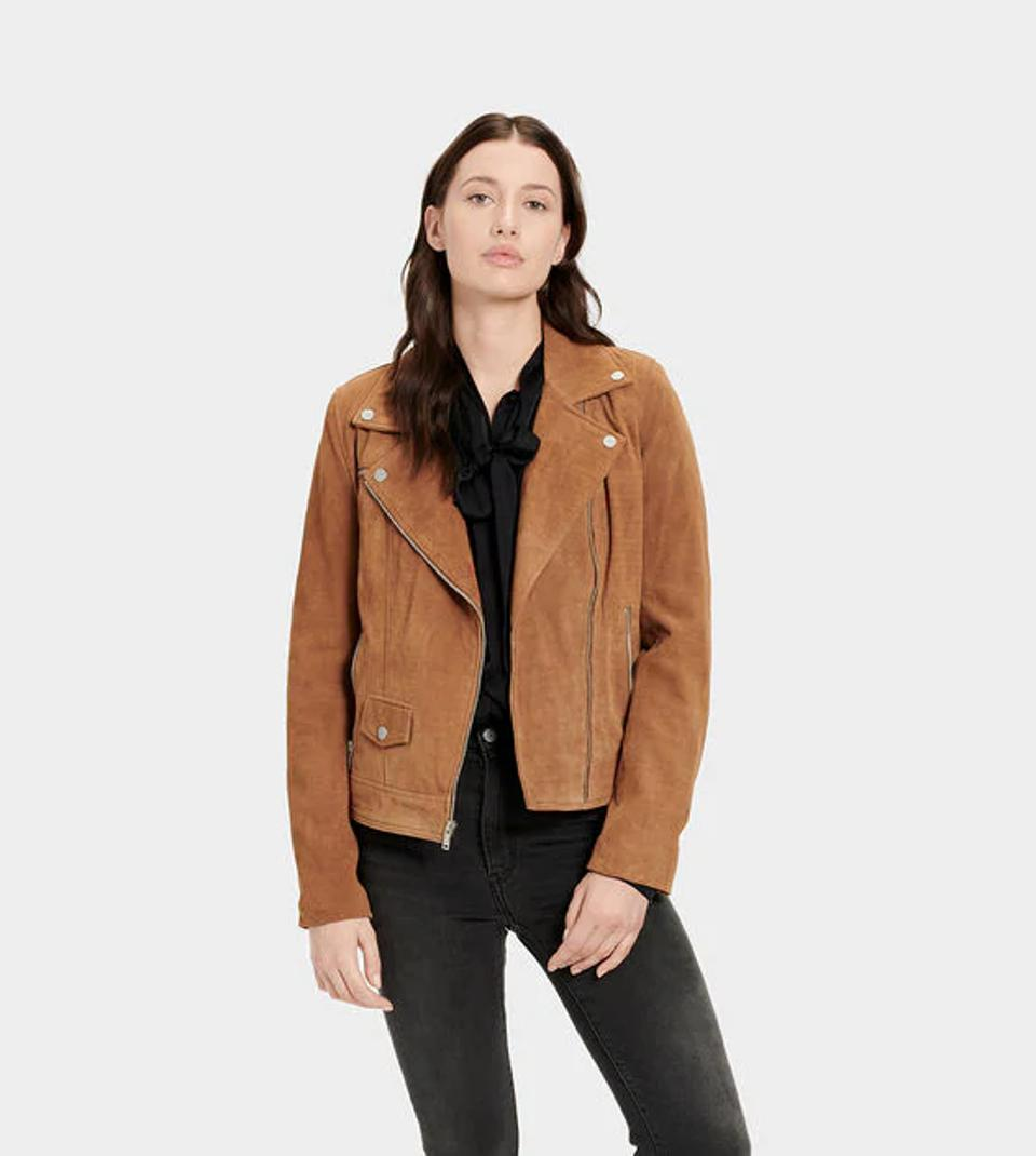 Ugg brown suede moto jacket.