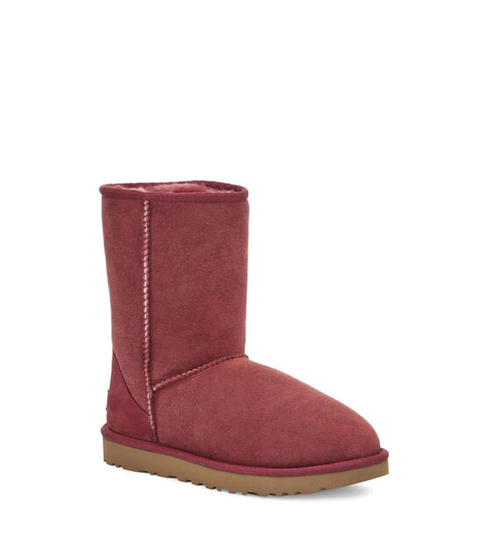 Red classic Ugg boot.