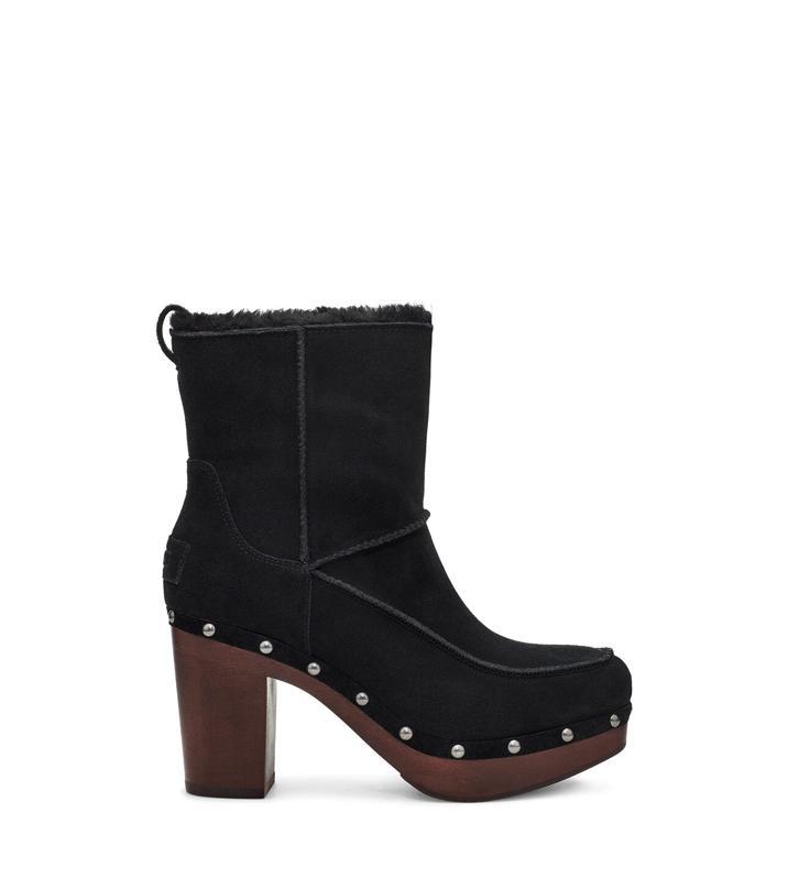 Ugg black suede heeled and embellished boot.
