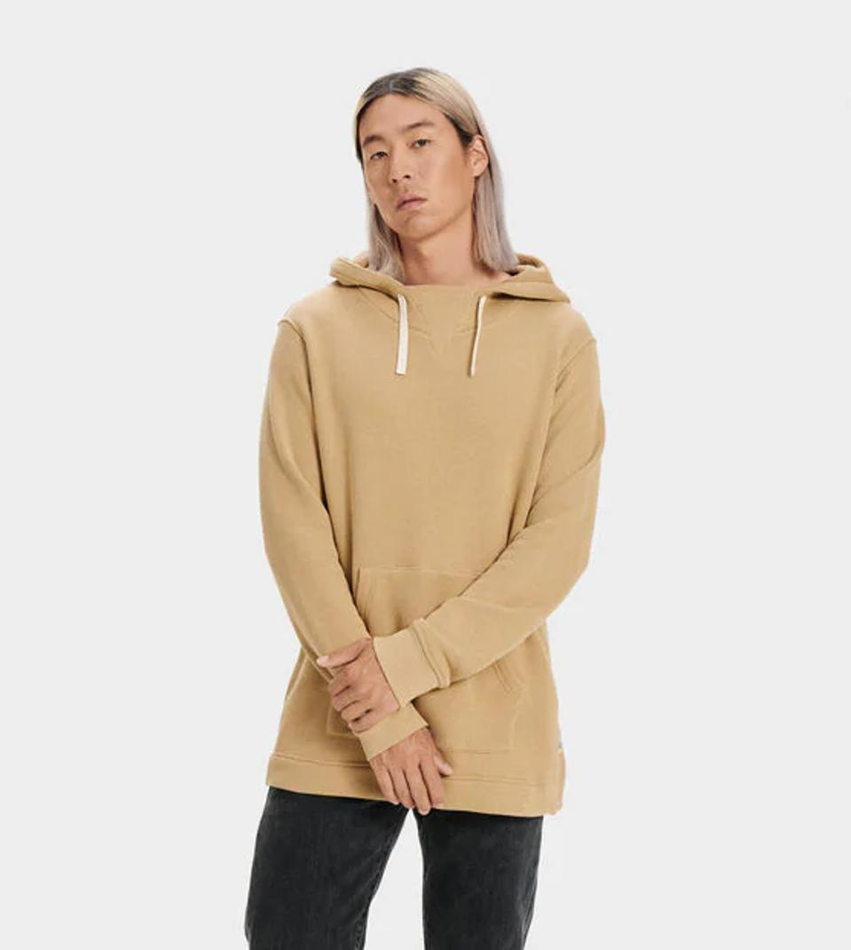 Tan pullover hoodie.